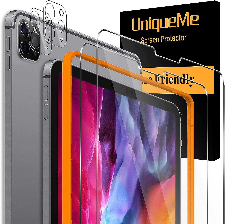 """UniqueMe [2+2 Pack] Protector de Pantalla para iPad Pro 2020 12.9"""" y [2 Pack] Protector de Lente de cámara para iPad Pro 2020 12.9"""" cámara, [Cobertura máxima][Sin Burbujas] HD Cristal Vidrio Templado"""