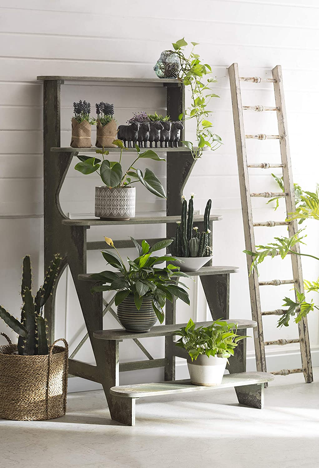 Rustic French farmhouse style wood potting bench for European country style decorating and interior design.