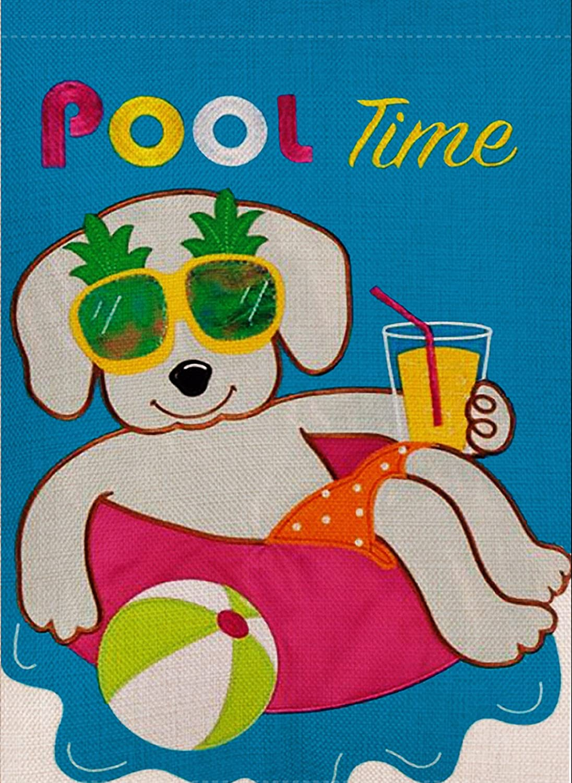Dyrenson Home Decorative Outdoor Summer Pool Time Garden Flag, Dog Pineapple House Yard Flag, Tropical Neighbor Garden Yard Decorations, Yellow Sunglasses Seasonal Outdoor Flag 12.5 x 18