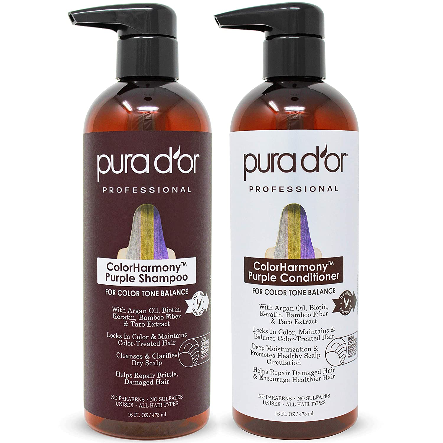 PURA D'OR ColorHarmony Purple Shampoo & Conditioner set