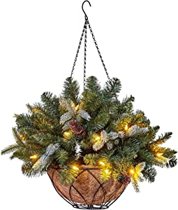 """NOMA 24"""" Large Pre-lit Artificial Christmas Hanging Basket 