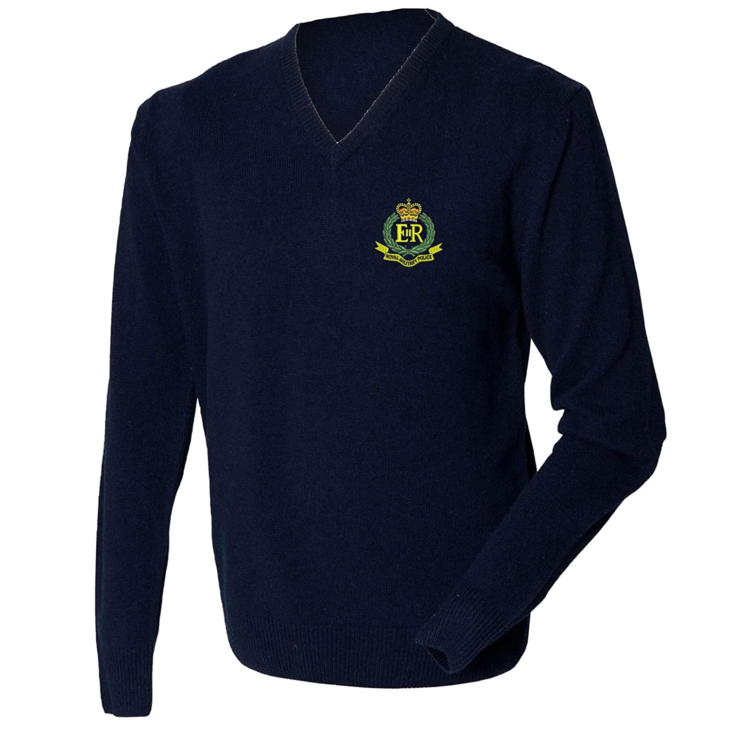 Military Police Lambswool V-neck Jumper.