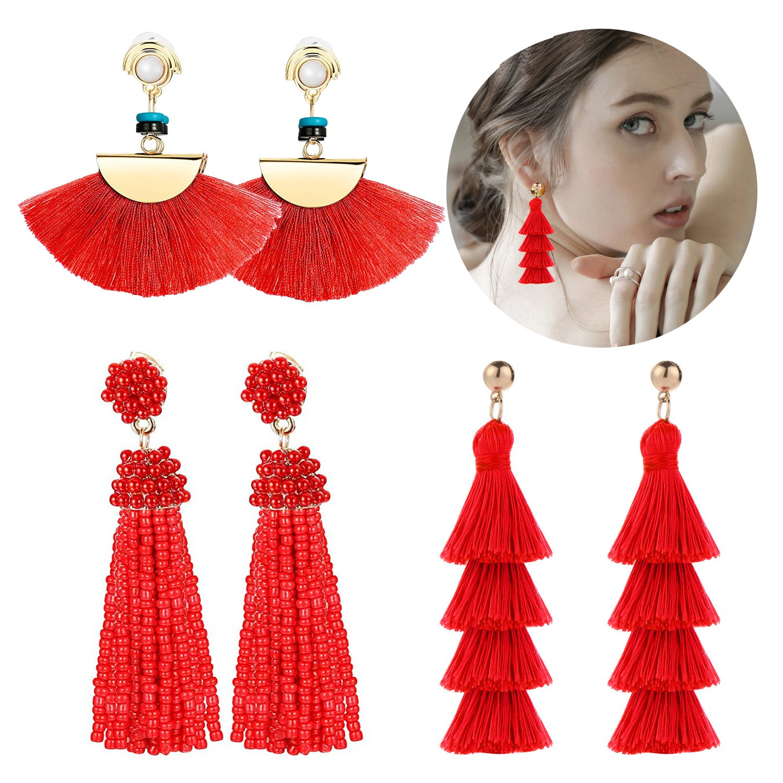 Adramata Red Tassel Earrings for Women Girls Dangle Drop Earring Set