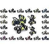 """Clamaro """"LUNO 3in1"""" Premium Kinderwagen 3 in 1 Kombi (20 Farben) mit Schwenkrädern, inkl. Babywanne mit Schaukelfunktion, Sport Buggy und Auto Babyschale Aufsatz (ISOFIX), klappbares Alu-Stahl Gestell mit 360° drehbaren Design Luftreifen"""