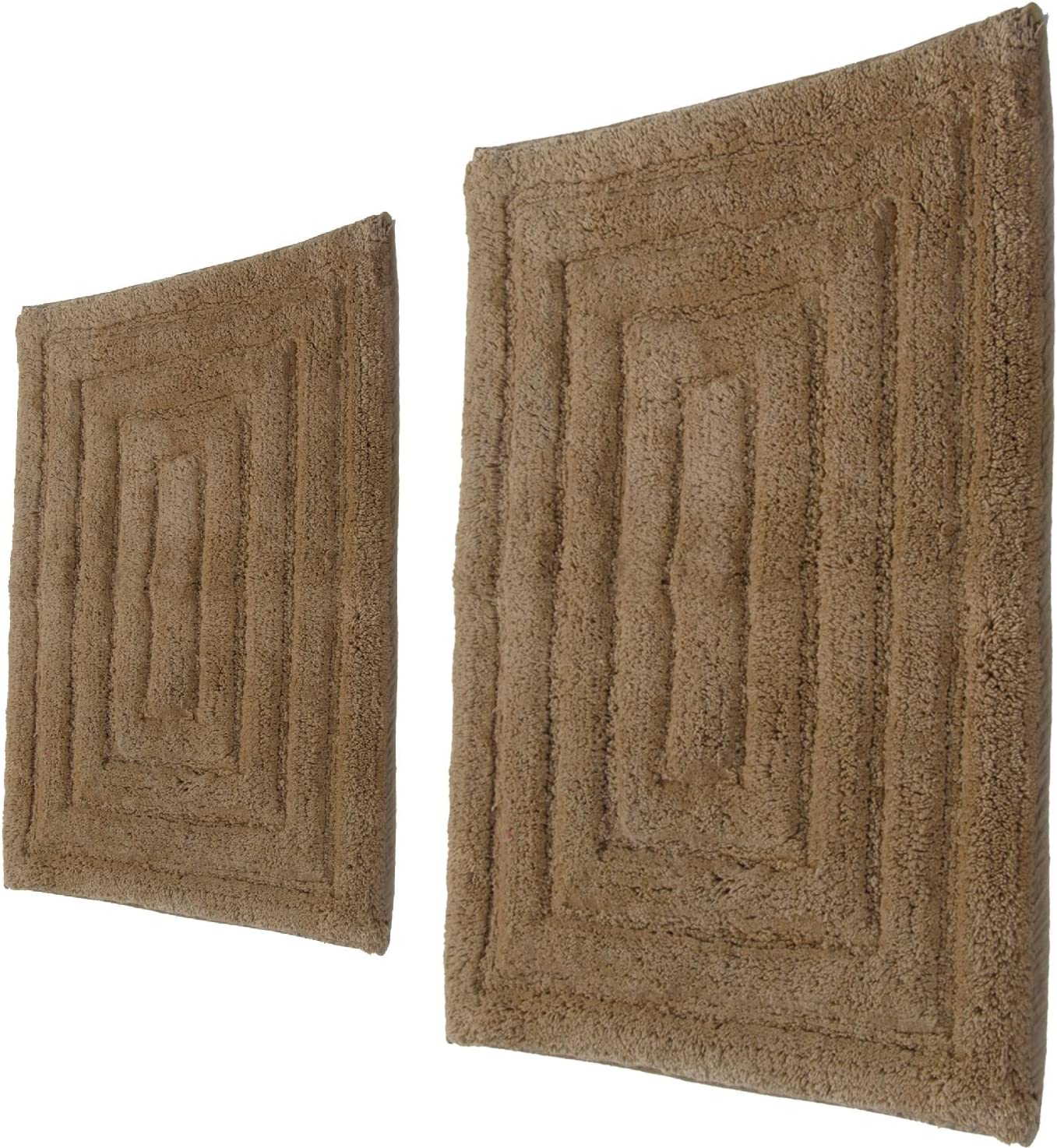 Castle Hill 2-Piece 100-Percent Cotton Racetrack Bath Rug, Taupe, 17x24/20x30