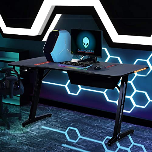 Depointer X-Pro Gaming Desk LED Lights Z-Shaped Ergonomic Computer Desk Comfortable for PC Gamers Home Racing Table Workstation with Oversized Gaming platform Surface, Headphone Hook,59.8 L x 29.9 W