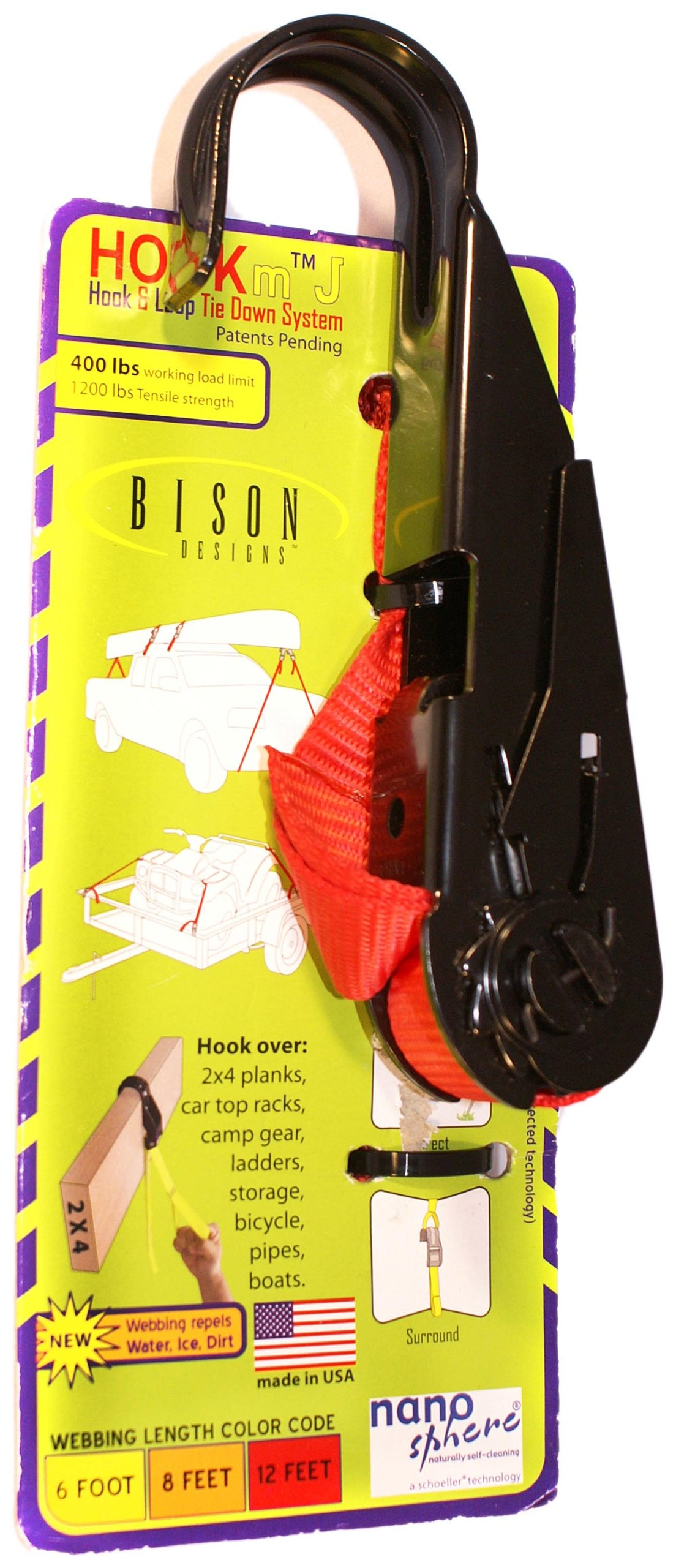 Bison Designs HOOKm Ratchet USA Made Tie Down with Black Buckle (Red, 12-Feet)