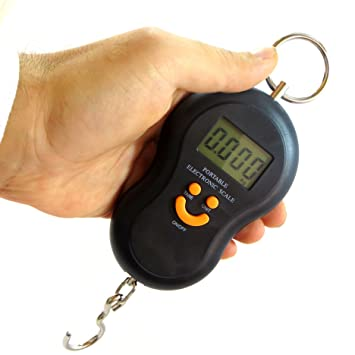 Báscula electrónica de mano, pesa de 10 g a 50kg. Ideal para pesar el equipaje, la maleta, una bolsa, peces. Con pantalla LCD Bem2: Amazon.es: Electrónica