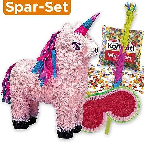 Set de piñata: Piñata con forma de unicornio rosa + palo + careta + confeti