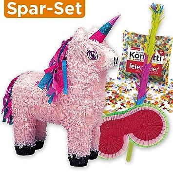 Set de piñata: Piñata con forma de unicornio rosa + palo + ...