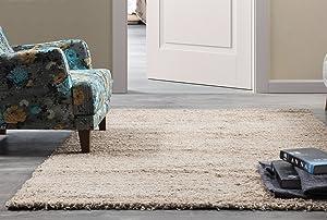 Perla Furniture Perla Shaggy Beige Area, Rug, 3' X 5', Ivory