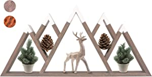 MOUNTAINSIDE IMPORTS Floating Mountain Shelf – Large 5 Peaks, 28.5 Inch Sustainable Acacia Hardwood, Rustic Shelves for Home & Cabin, Wooden Triangle Wall Decor, Woodland Nursery, Handmade in India