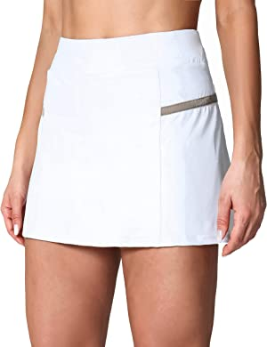 POSHDIVAH Women's Athletic Skirts with Built-in Shorts Skorts for Tennis Golf Running Workout and Casual White M