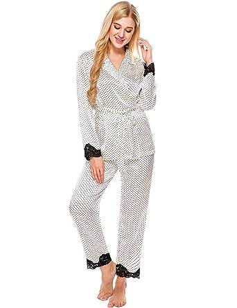 online store f0a06 862e1 Ekouaer Schlafanzug damen satin Spitze Pyjama set Morgenmantel kurz schwarz  rot blau