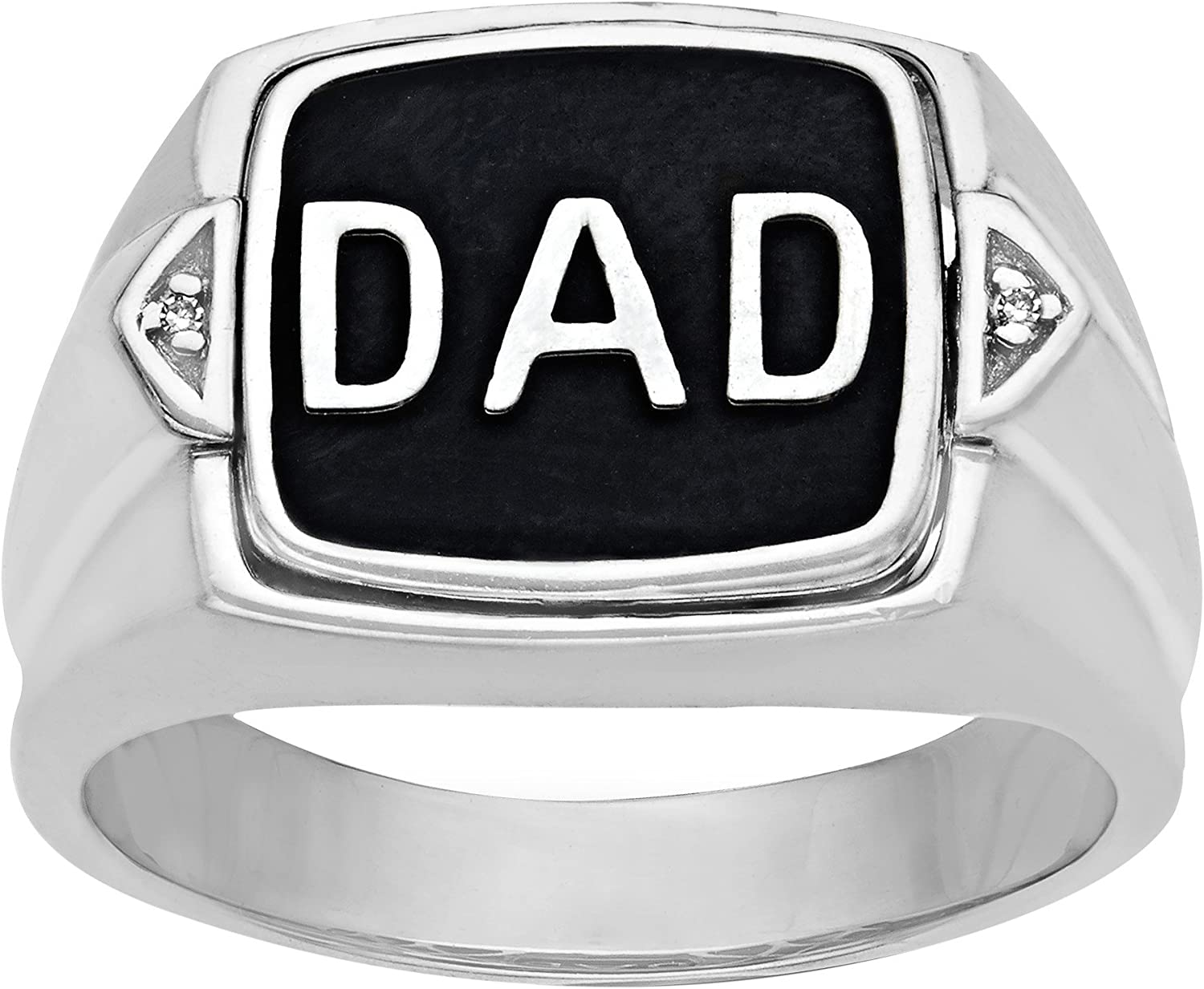 'Dad' Onyx Flip Rings mit Diamonds bei Sterling Silver