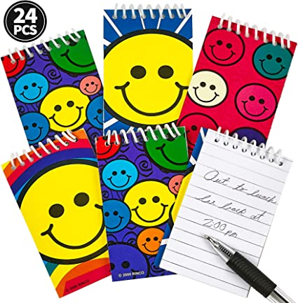 24 SMILEY FACE  Spiral Notebooks  Great Party Bag Fillers//Rewards 6 18 12