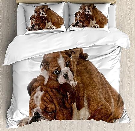 Copripiumino Bulldog Inglese.Bulldog Inglese 3 Pezzi Set Copripiumino Padre E Figlio Bulldogs