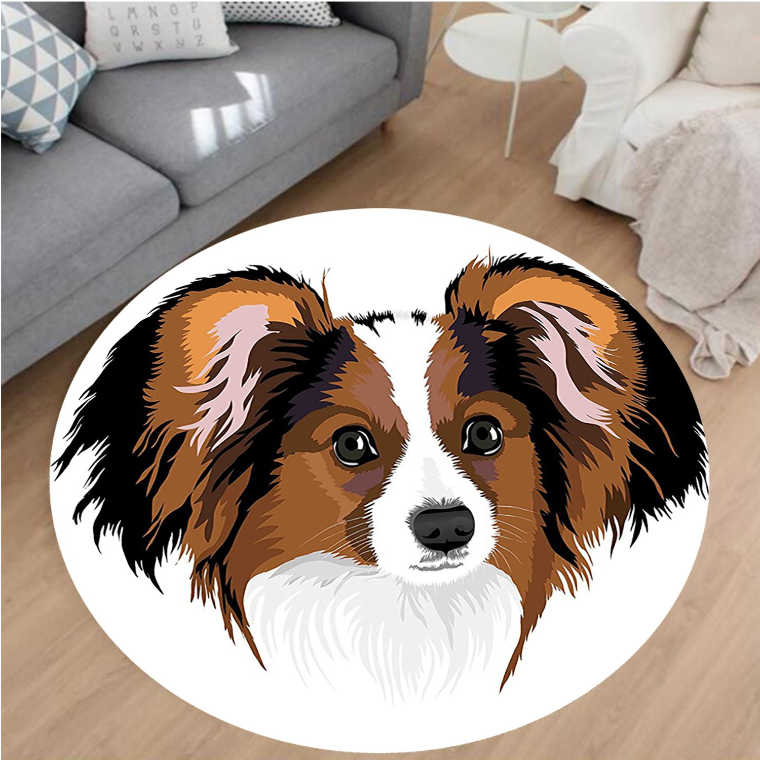 Nalahome Modern Flannel Microfiber Non-Slip Machine Washable Round Area Rug-Cute Smart Adorable Best Friend Dog Movie Pet Cartoon Artwork Image Cinnamon Black White area rugs Home Decor-Round 71''