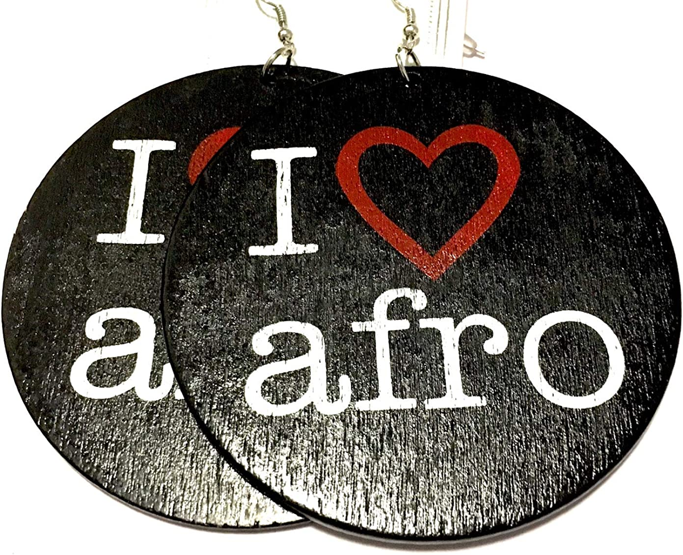 Black Afro Round Wood Earrings I Love My Afro African American Clothing Accessories