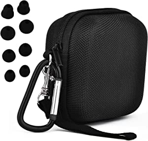 CAGOS Compatible with Powerbeats Pro Protective Case Canvas Nylon Accessories Hard Carrying Cover Case with 4 Pack Replacement Earbuds for Dre Powerbeats Pro- Black