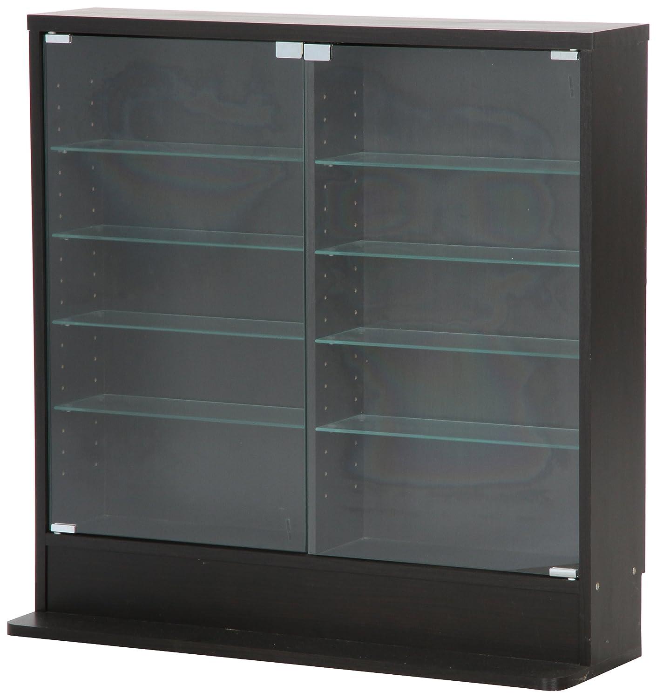 不二貿易 ガラスコレクションケース ロータイプ 浅型 5段 強化ガラス ブラック 96070 B00FZEWIF6  ブラック