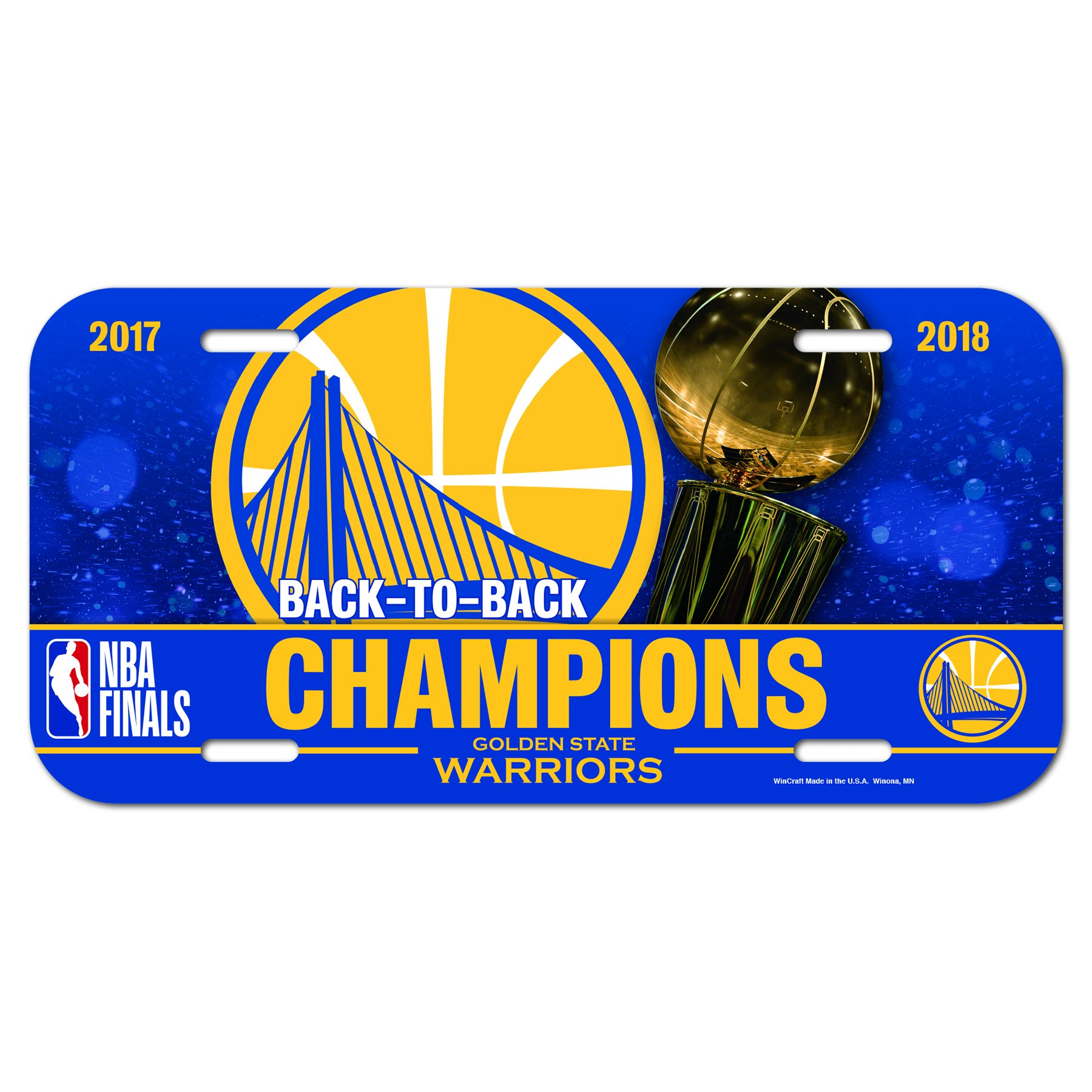 WinCraft Golden State Warriors Official NBA 2018 National Champions License Plate Plastic by 332301
