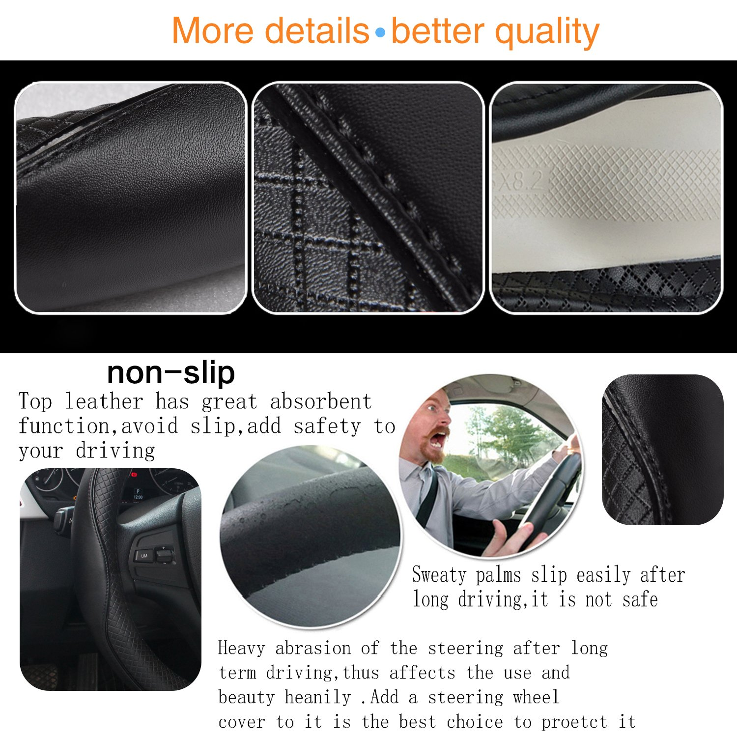 Steering Wheel Covers Universal 15 inch Genuine Leather Protector Anti-Slip Durable Breathable Sports Wave Pattern Black with Black Lines