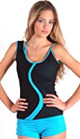 Margarita - Activewear - Top - Turquoise Design on Black Mesh