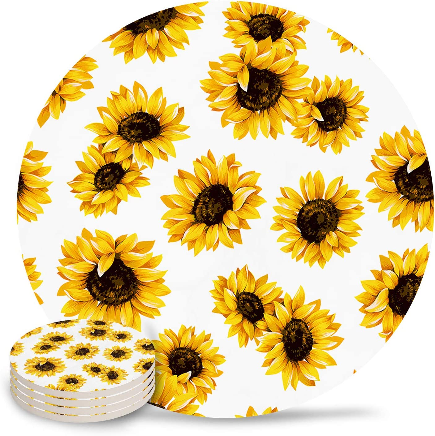 kitchen Easter gift office washable 100/% cotton fabric home decor batting Sunflower fabric coaster set of 4 gifts