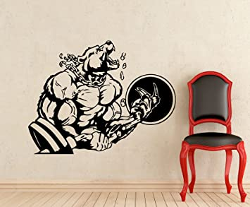Bodybuilding Sticker Powerlifting Strong Man Gym Wall Decal Fitness  Motivation Bear Barbell Beast Mode Vinyl Sticker