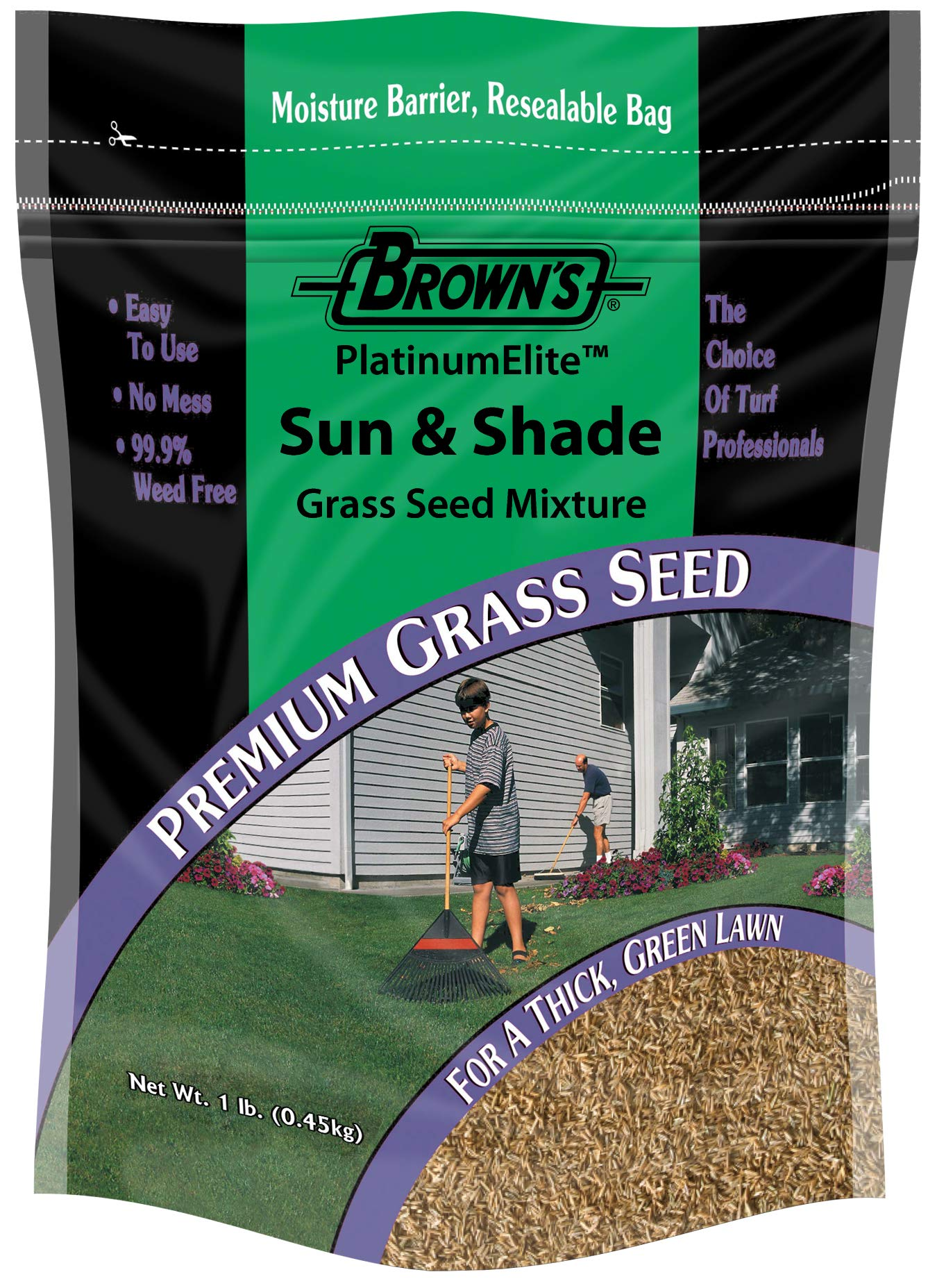 F.M. Brown's PlatinumElite Sun and Shade Grass Seed Mixture, 1 lb. | 99.9% Weed Free, Fast-Growing Perennial Seeds for Beautiful Lawns by F.M. Brown's