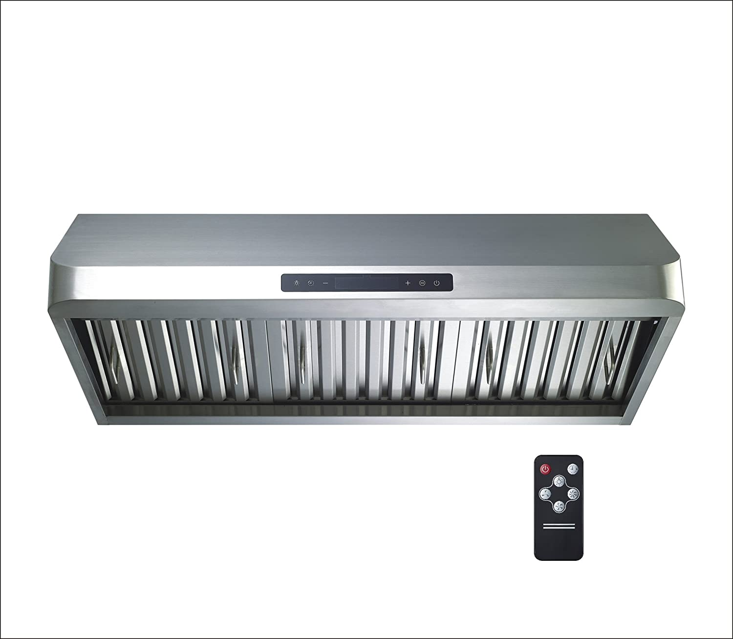 "Winflo New 36"" Ducted Stainless Steel Under Cabinet 600 CFM Air Flow Kitchen Range Hood with Baffle filters, Gas Sensor, Touch Control and Utra Bright LED Lights"
