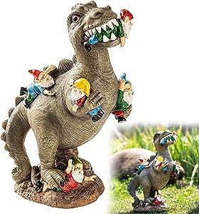 MUSJOS Dinosaur Eating Gnomes Garden Statue, The Great Garden Gnome Massacre, Funny Resin Figurines Garden Gnome for Party Home Patio Lawn Garden Decor (S)