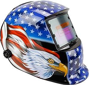 Geelife Solar Powered Welding Helmet Auto Darkening Hood with Adjustable Shade Range 4/9-13 for Mig Tig Arc Welder Mask (Blue Eagle)