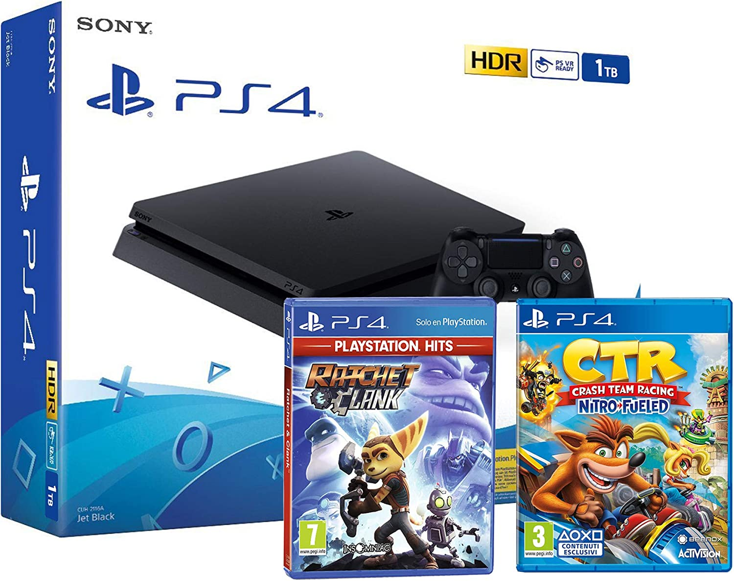 PS4 Slim 1Tb Negra Playstation 4 Consola + Ratchet & Clank + Crash Team Racing: Nitro Fueled: Amazon.es: Videojuegos