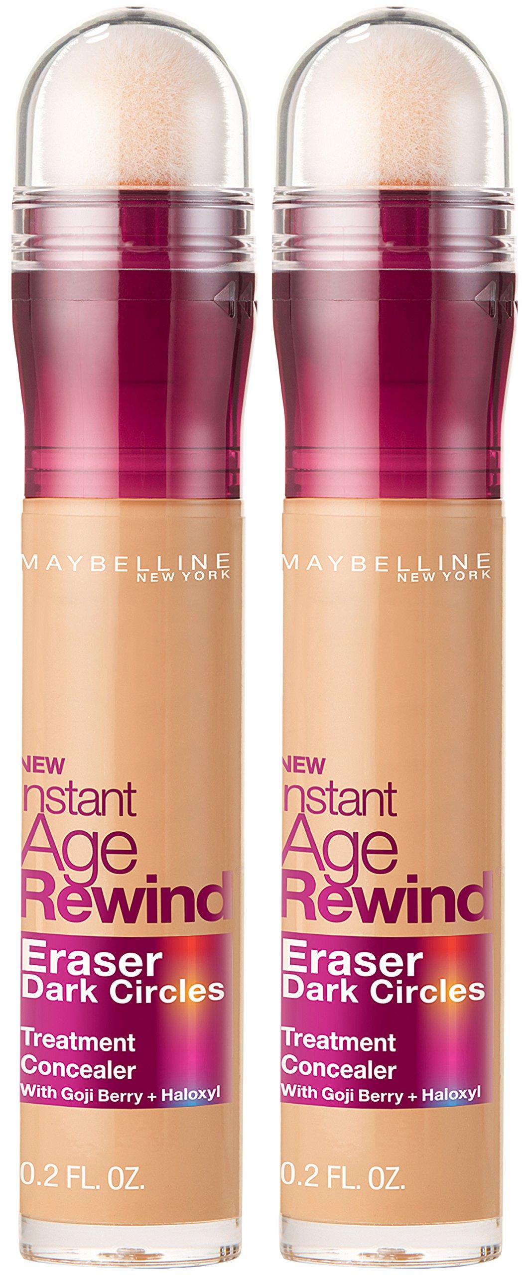Maybelline New York Instant Age Rewind Eraser Dark Circles Treatment Concealer Makeup, Medium, 2 count