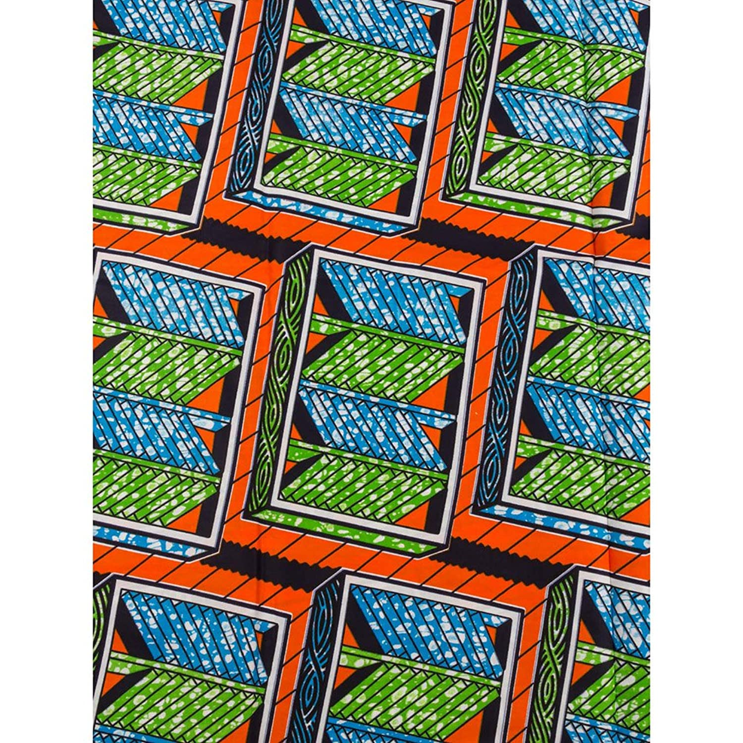 Premier Nigerian Fabric Super Deluxe Wax Orange Labyrinth For Clothes sw091539_1