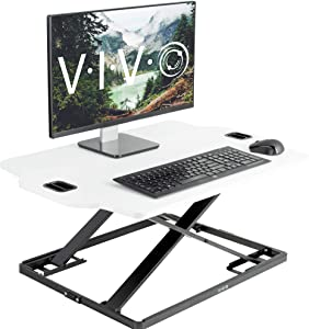 "VIVO White Height Adjustable Standing 32"" Desk Sit Stand Converter Tabletop Monitor Laptop Riser Platform Station (DESK-V000H)"
