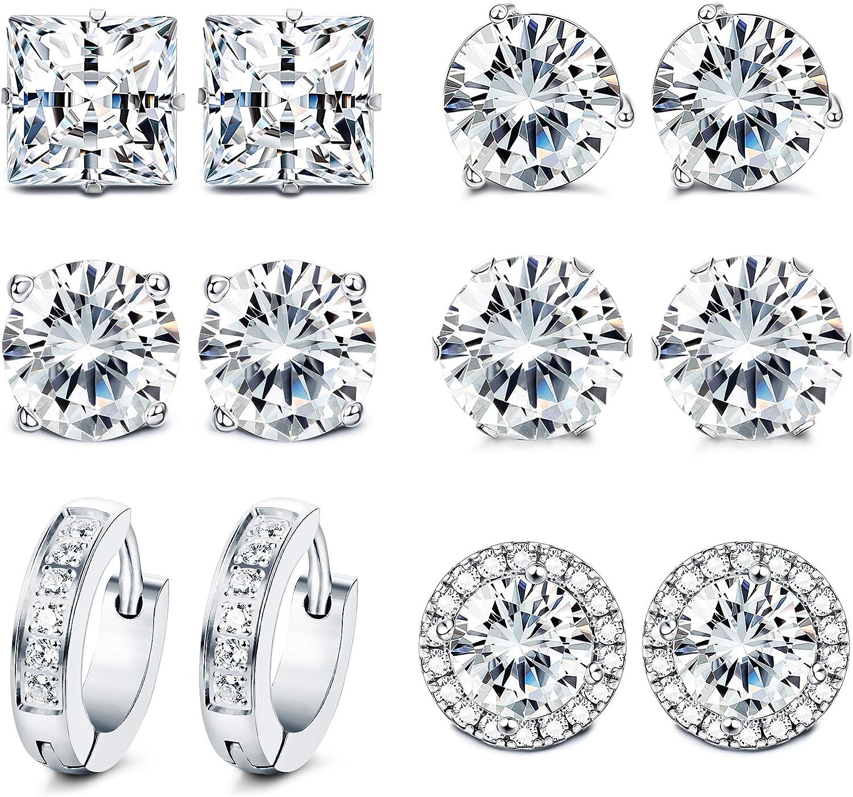 FUNRUN JEWELRY 6 Pairs Stainless Steel Cubic Zirconia Stud Earrings for Women Men CZ Halo Hoop Huggie Earrings Set