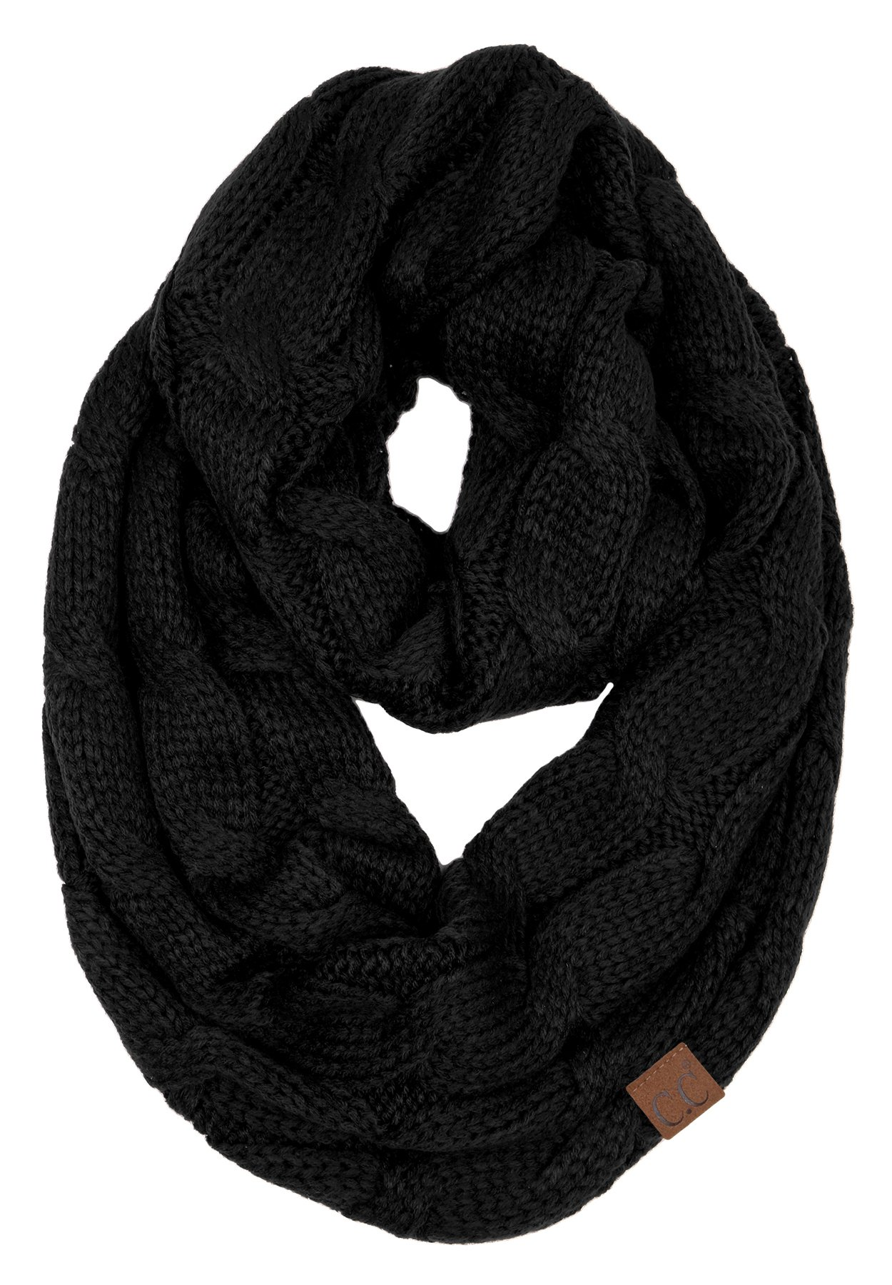 S1-6100-06 Funky Junque Infinity Scarf - Black (Solid) by Funky Junque
