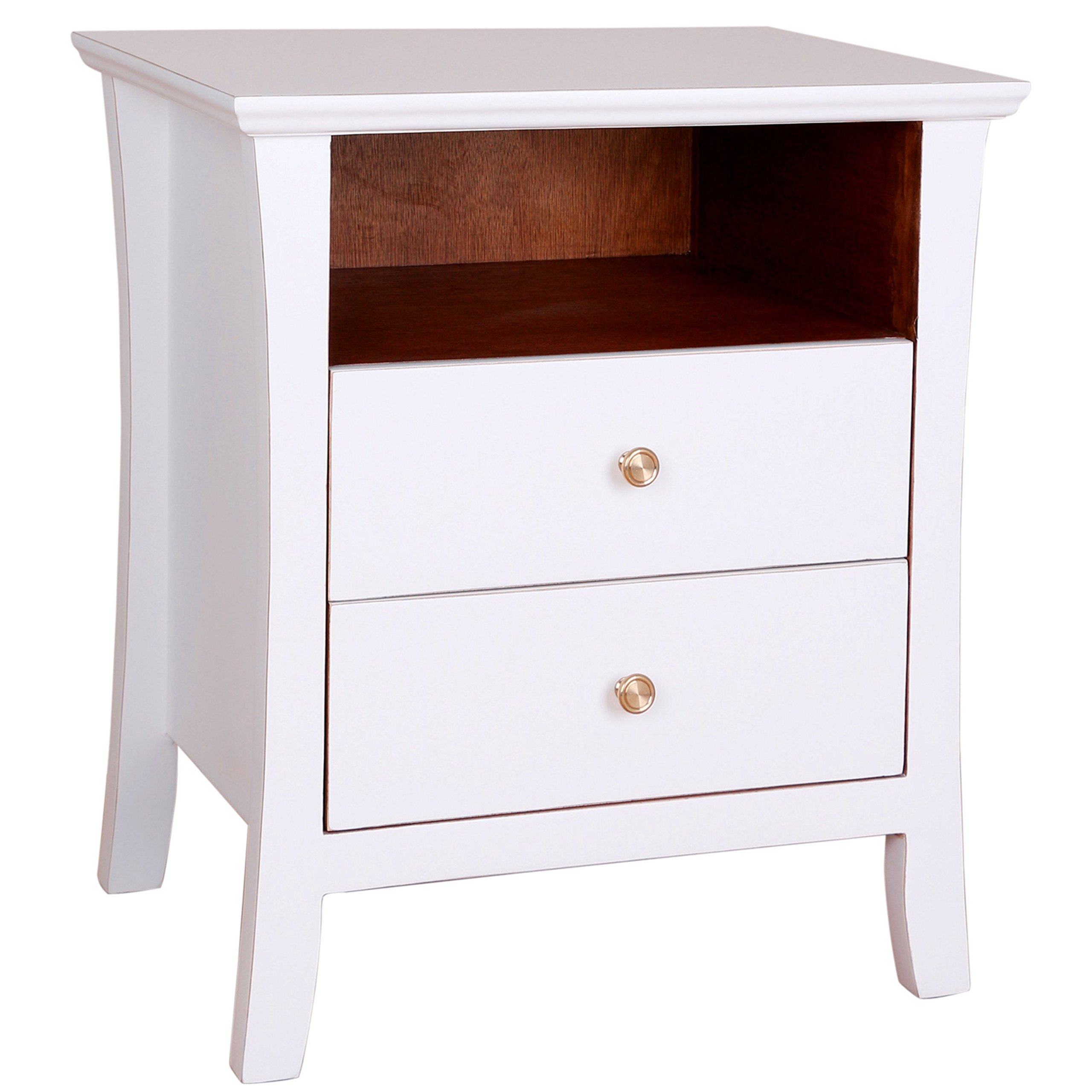 Porthos Home Cosette 2 Drawer Side Table, White