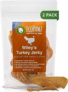 EcoPawz Wiley's Turkey Jerky Pet Treats   Grain Free Dog Jerky Treats Made in USA   All Natural Pet Treats for Dogs   Natural Healthy Dog Treats