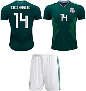 7edd40f0b Chicharito  14 Javier Hernández Mexico Soccer Jersey Youth World Cup Home  Short Sleeve with Shorts