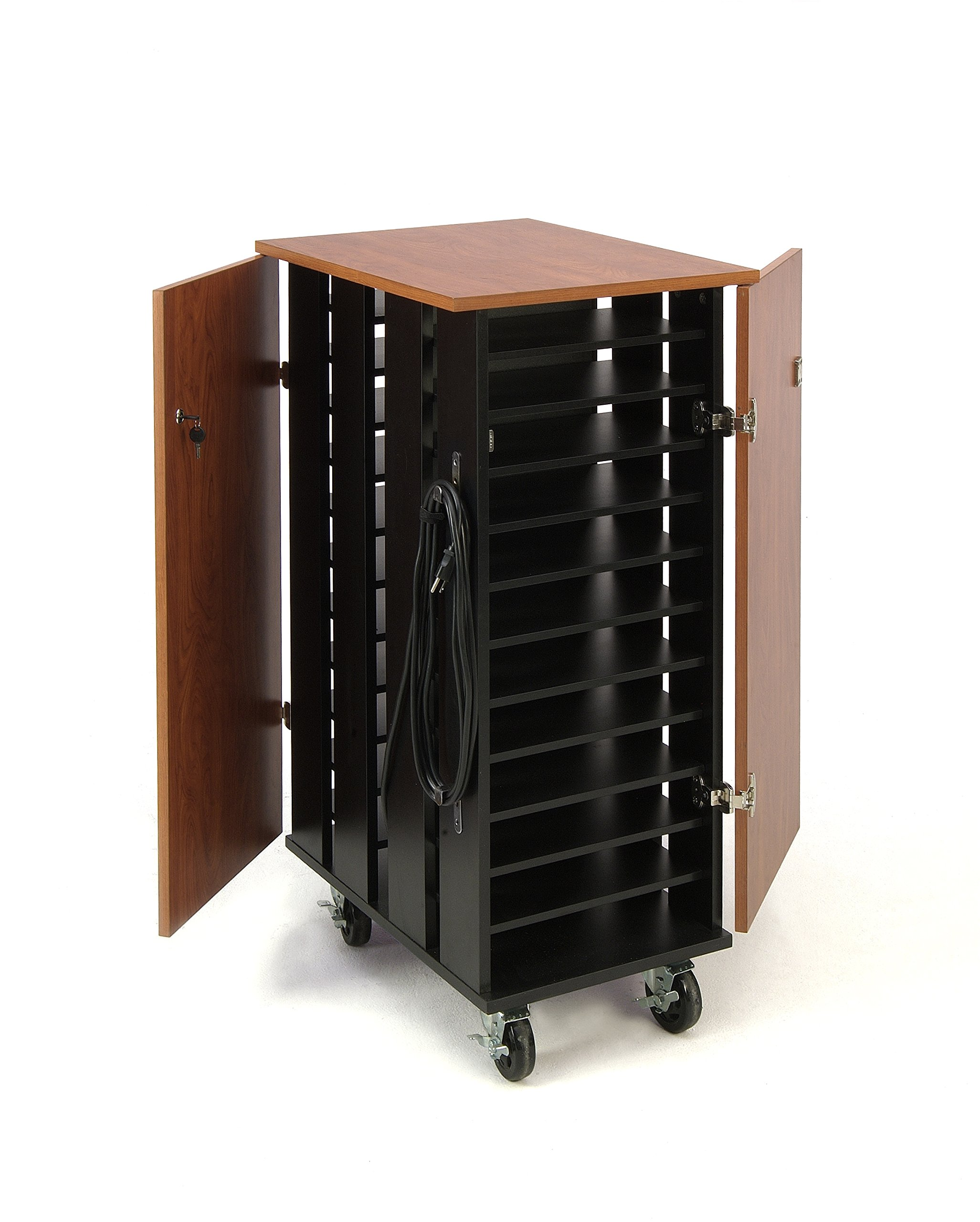 Oklahoma Sound TCSC Tablet Charging and Storage Cart, 26'' Length x 20'' Width x 43-1/4'' Height, Wild Cherry/Black