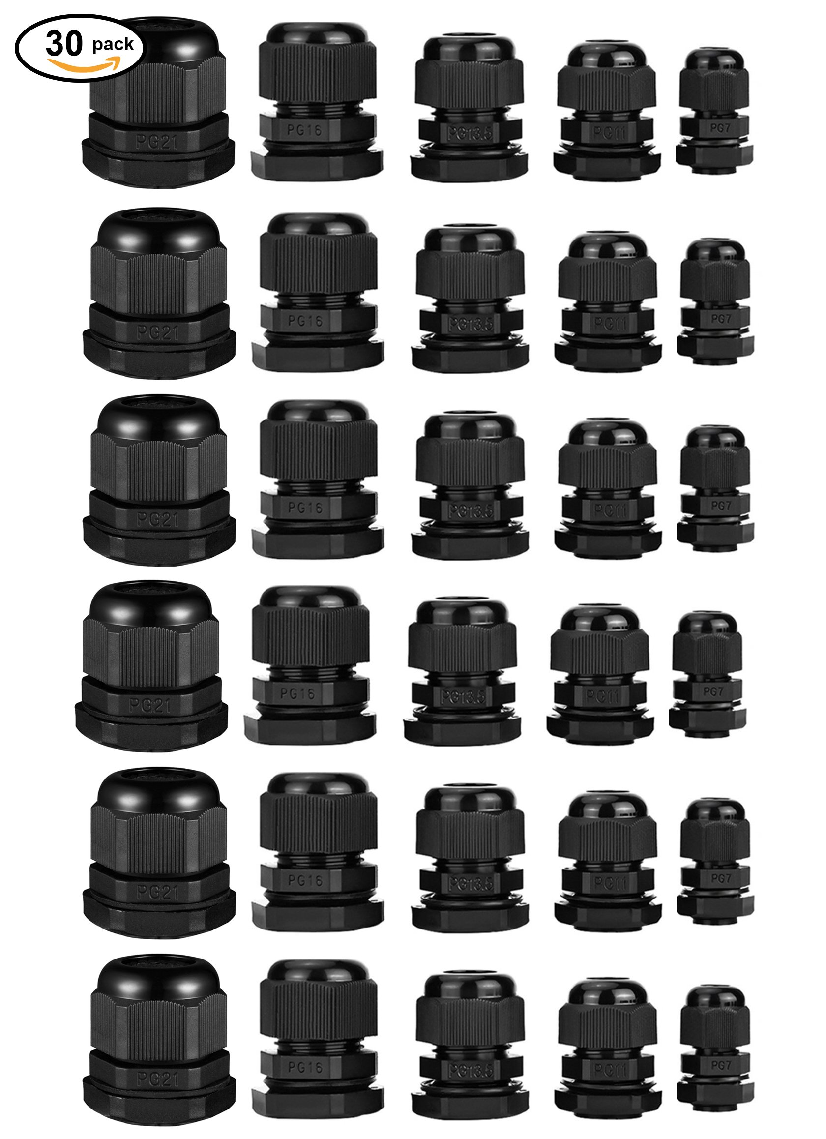 ZXHAO PG7 PG11 PG13.5 PG16 PG21 Black Nylon Waterproof Cable Gland Adjustable Locknut Set for 3mm-18mm (0.12''-0.71'') Dia Cable Wire 30PCS