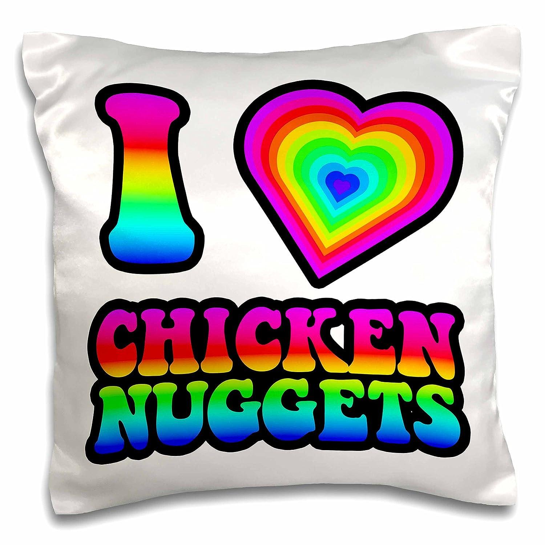 "3dRose pc_217381_1 Groovy Hippie Rainbow I Heart Love Chicken Nuggets Pillow Case, 16"" x 16"""