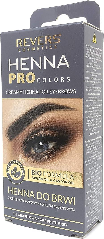 Tinte Permanente profesional para cejas, 15 ml Henna KIT efecto 2 semanas 8 veces aplicacíon, con aceites de argán & Castle (Gris)