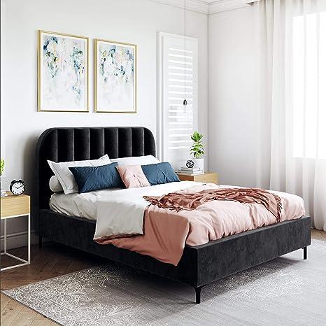 Amazon Com Dhp Camilla Upholstered Black Velvet Full Bed Furniture Decor