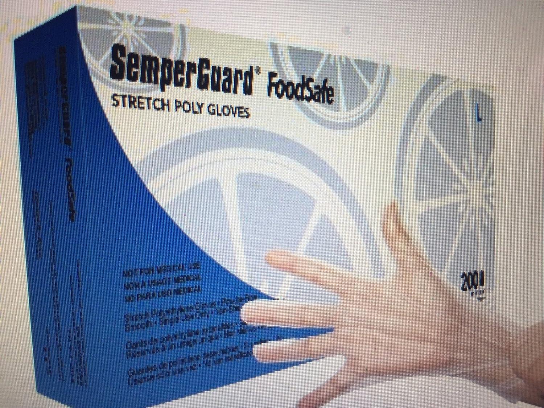 SemperGuard Food Safe Stretch Poly Gloves (10 boxes of 200) - LARGE 81UZCYQEmiL