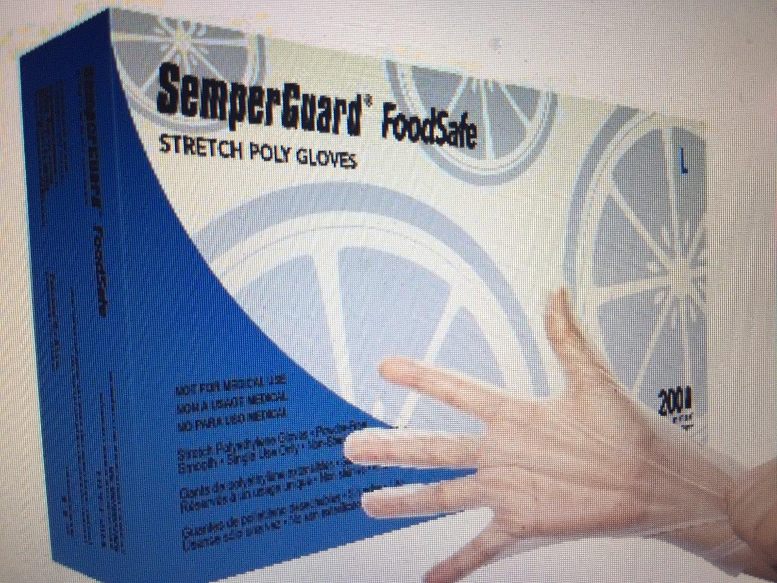 SemperGuard Food Safe Stretch Poly Gloves (10 boxes of 200) - LARGE